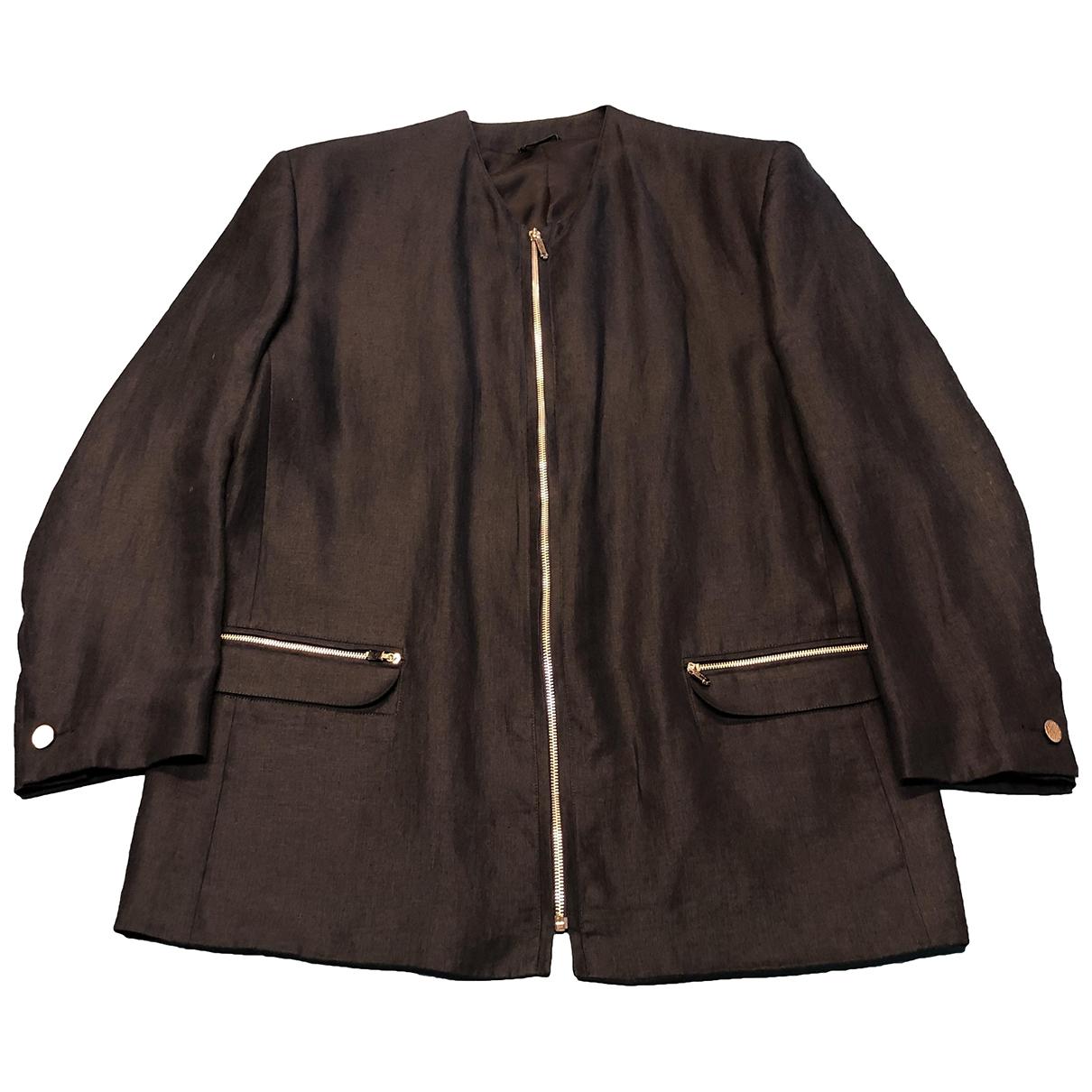 Gianni Versace \N Blue Linen jacket  for Men 52 IT