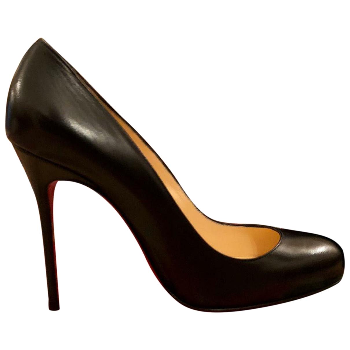 Christian Louboutin Fifi  Black Leather Heels for Women 37 EU
