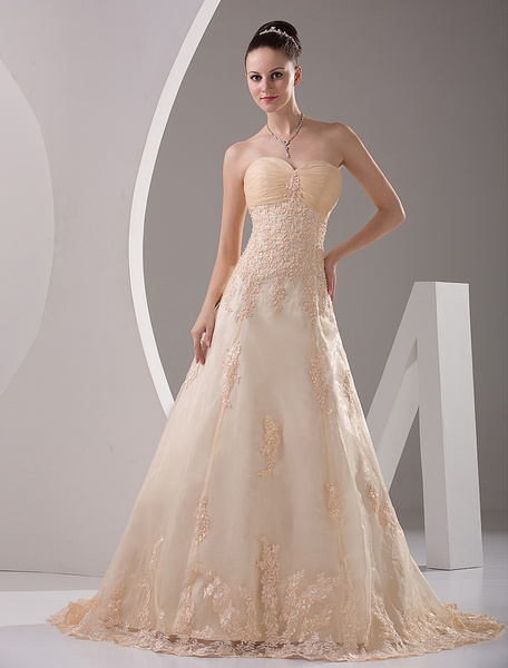 Milanoo Sweetheart Satin Lace Applique Wedding Dress