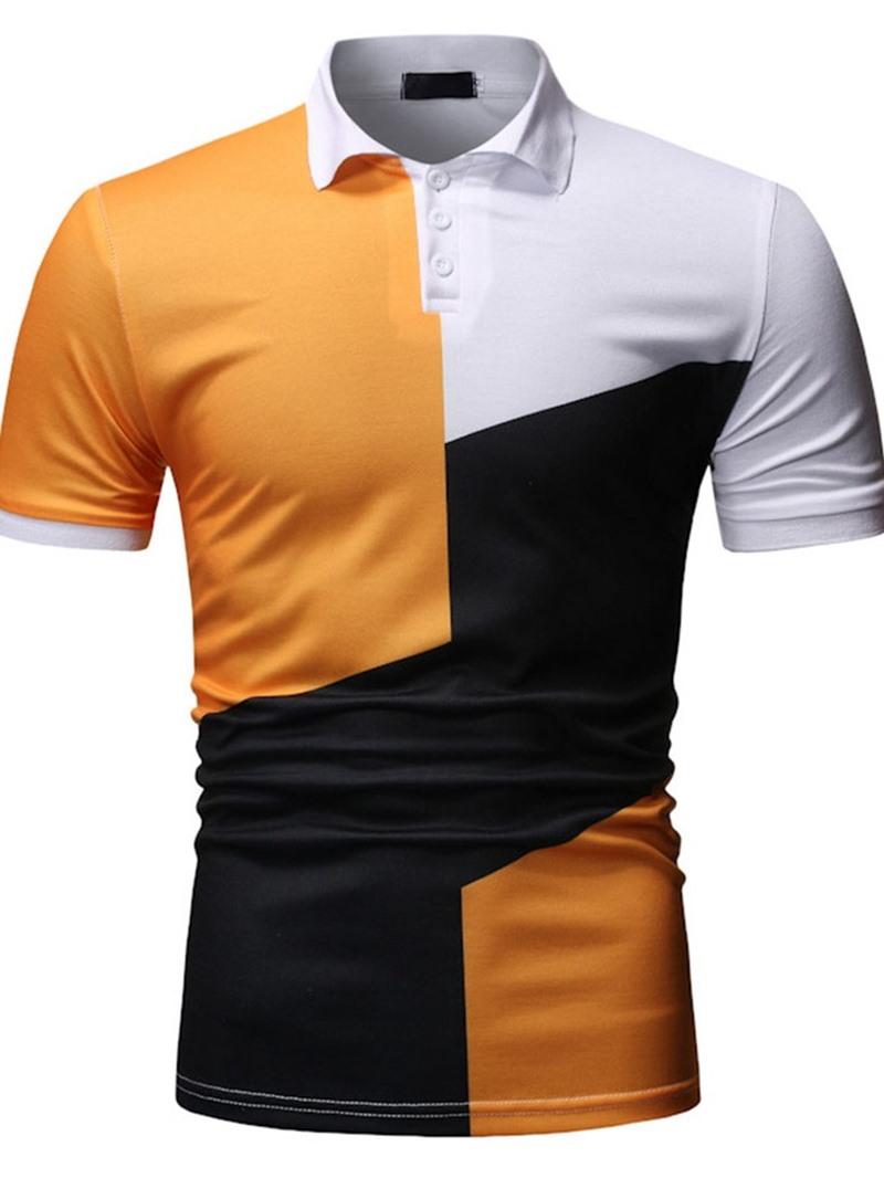 Ericdress Polo Neck Color Block Mens Polo Shirt