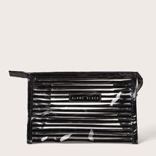 Transparente Make-up Tasche mit Streifen Muster