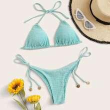 Shirred Triangle Tie Side Bikini Swimsuit