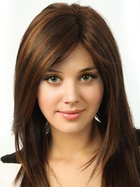 Milanoo Pelucas de las mujeres de Tan peluca recta Straight Layered Parejas de longitud del hombro
