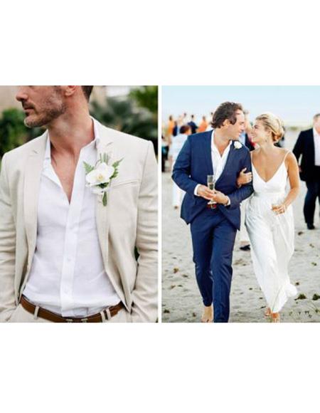 Mens Beach Wedding Attire Suit Menswear Ivory/Navy Blue 199
