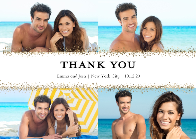 Thank You Cards Flat Glossy Photo Paper Cards with Envelopes, 5x7, Card & Stationery -Thank You Dots Gold by Tumbalina