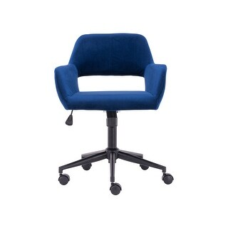 Height-Adjustable Home Office Chair with Upholstered (Blue)
