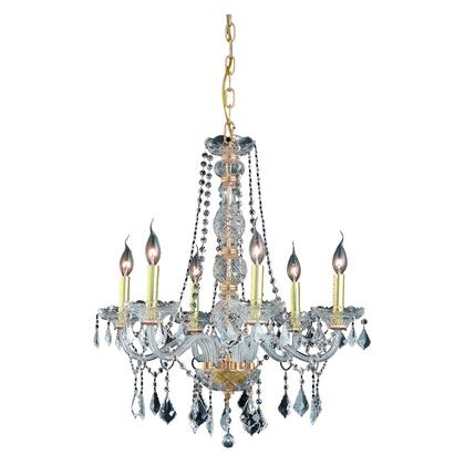 V7856D24G/RC Verona 6 Light Gold Chandelier Clear Royal Cut