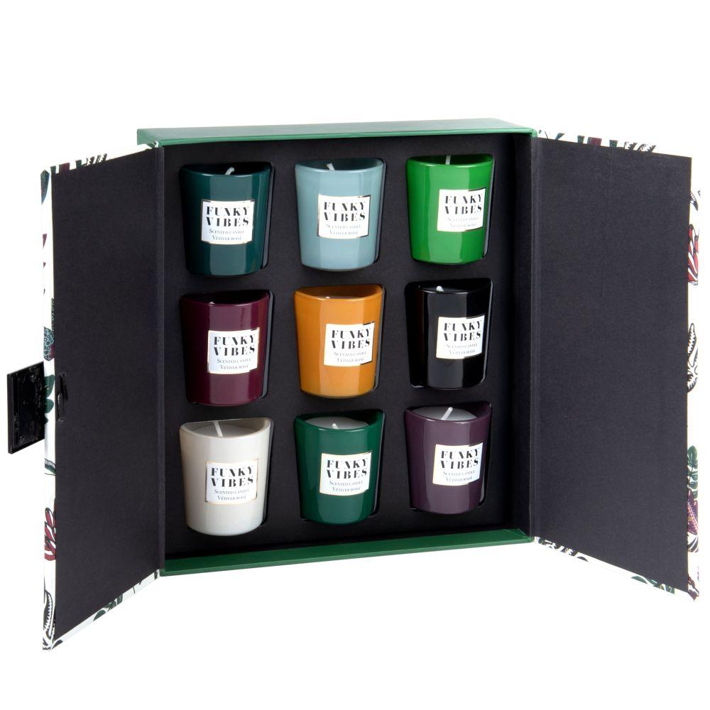 Set aus 9 Mini-Duftkerzen im Glasgefaess
