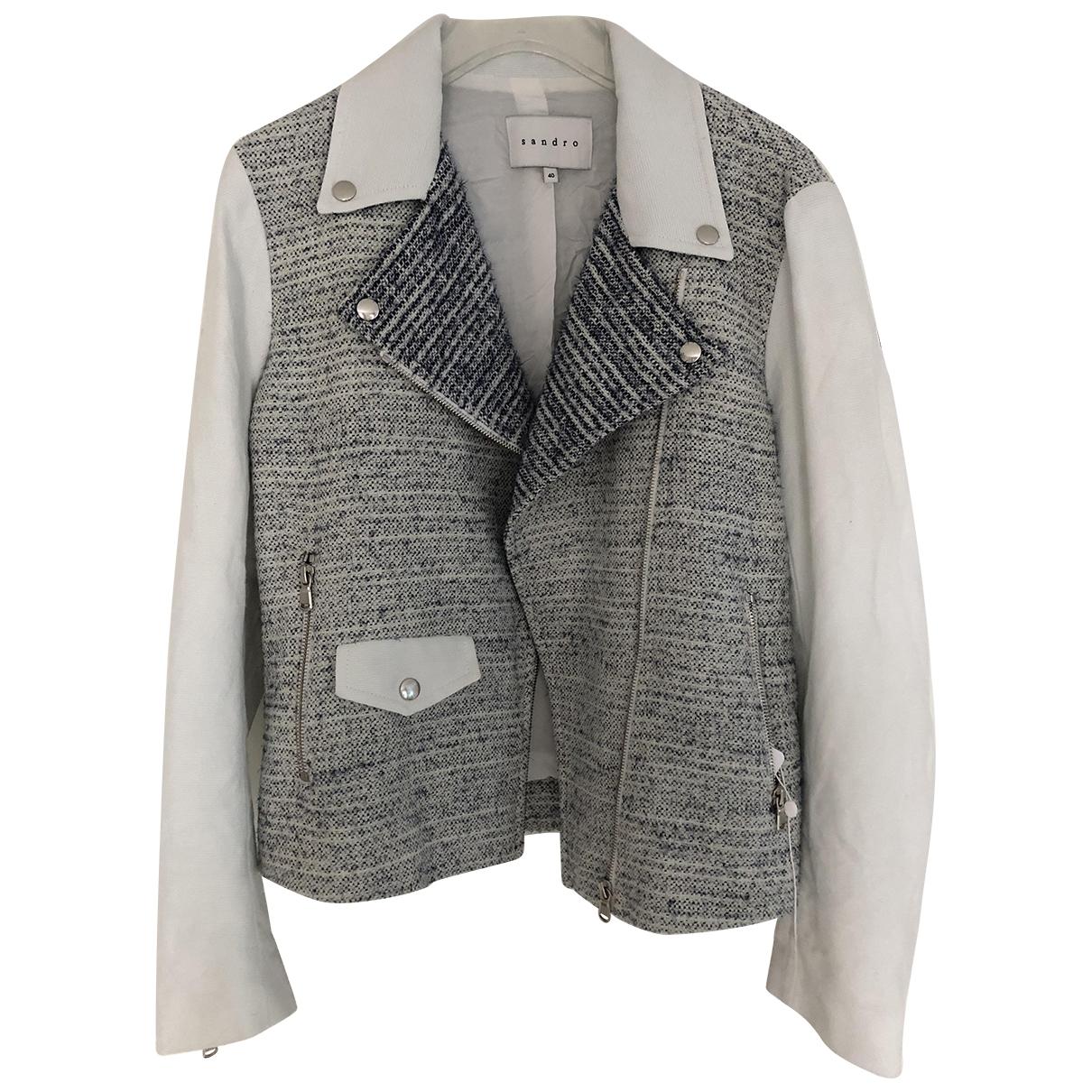 Sandro \N White Linen jacket for Women 40 FR