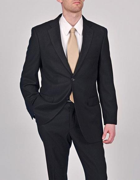Caravelli Men's Black Pinstripe Notch Lapel 2 Button Vested Suit