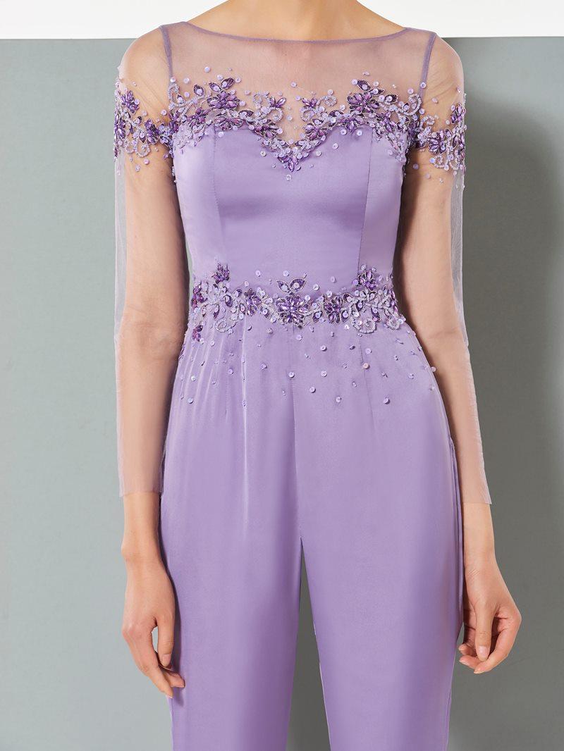 Ericdress Sheath Long Sleeve Applique Ankle Length Prom Jumpsuit