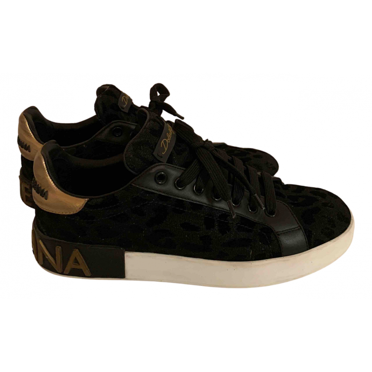 Dolce & Gabbana Portofino Sneakers in  Schwarz Leinen