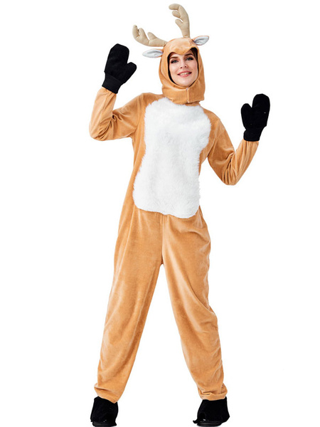 Milanoo Kigurumi Pajamas Onesie Reindeer Winter Sleepwear Animal Costume Halloween