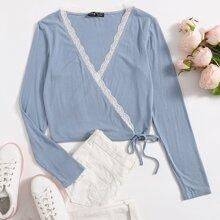 Wrap Tie Side Lace Trim Rib-knit Top