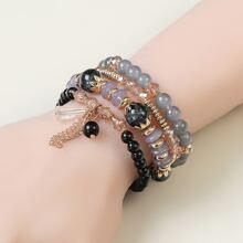 4pcs Chain Tassel Decor Beaded Bracelet
