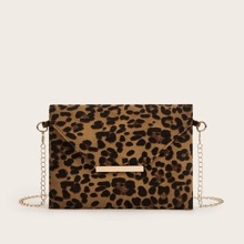 Leopard Clutch Bag With Chain Strap