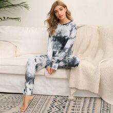 Strick Schlafanzug Set mit Batik