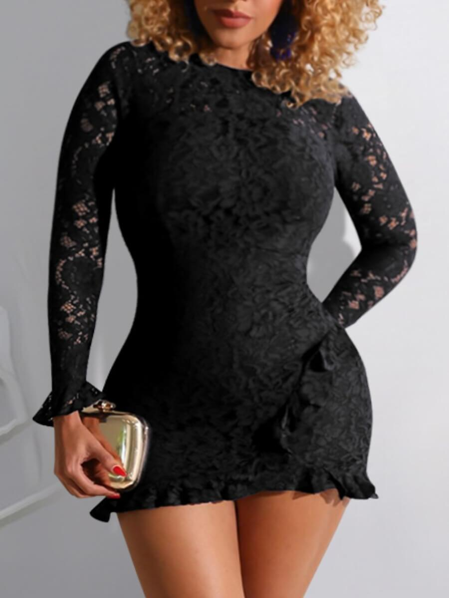 LW Lovely Sweet O Neck Lace See-through Black Mini Dress