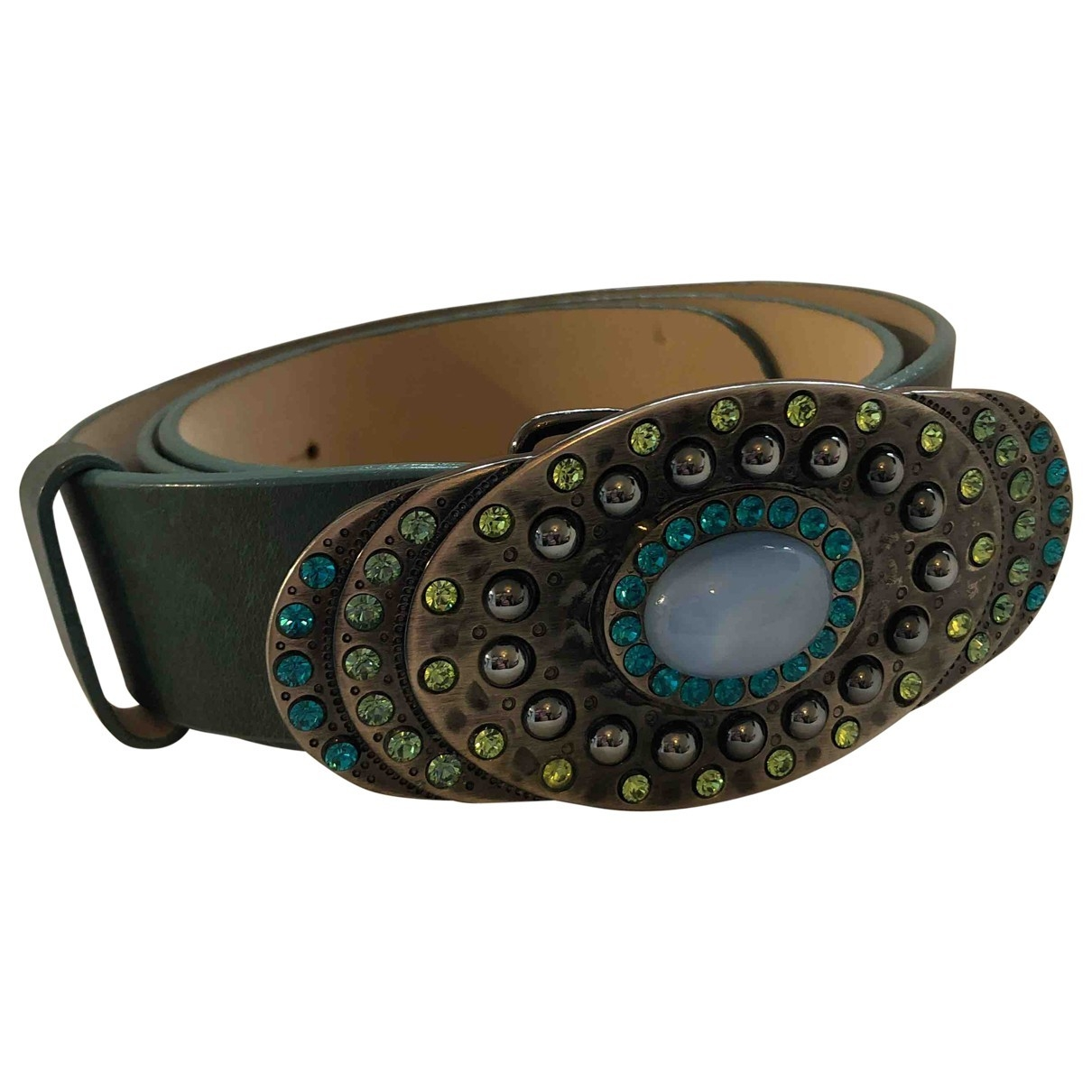 Non Signé / Unsigned \N Green Leather belt for Women 90 cm