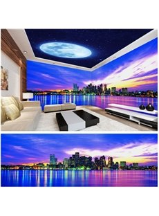 White Moon and Building with Cloud Pattern 3D Waterproof Ceiling and Wall Murals