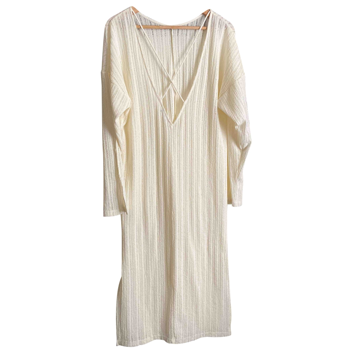 Zara \N Kleid in  Ecru Synthetik