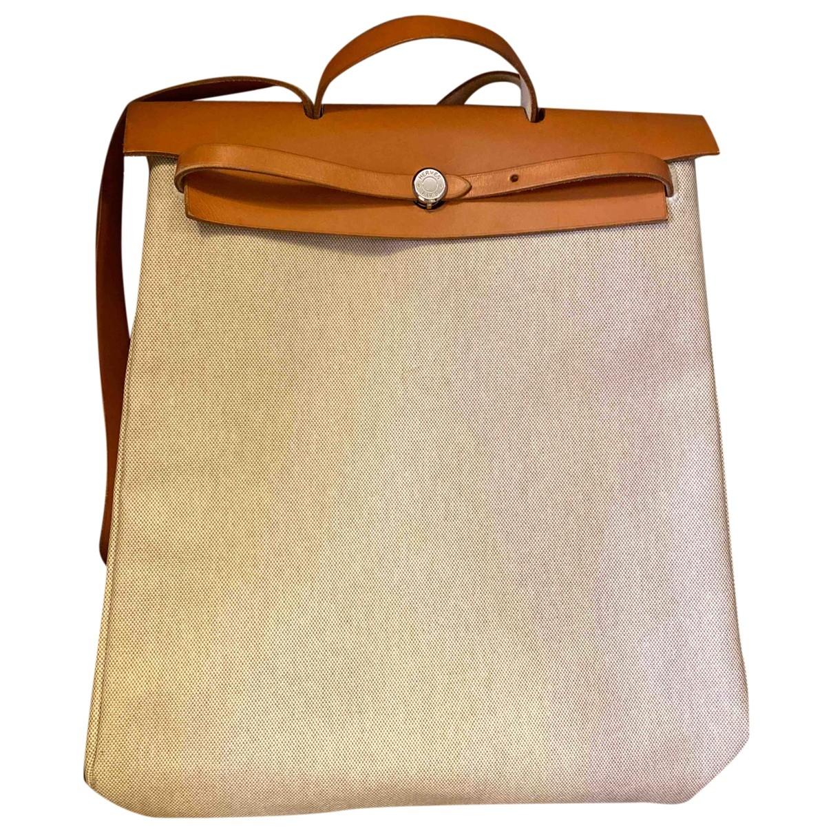Hermes - Sac de voyage Herbag pour femme en toile - beige