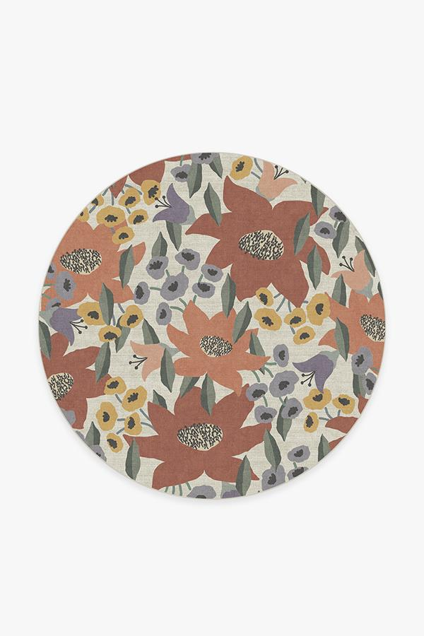 Washable Rug Cover | Lilia Terracotta Rug | Stain-Resistant | Ruggable | 6' Round