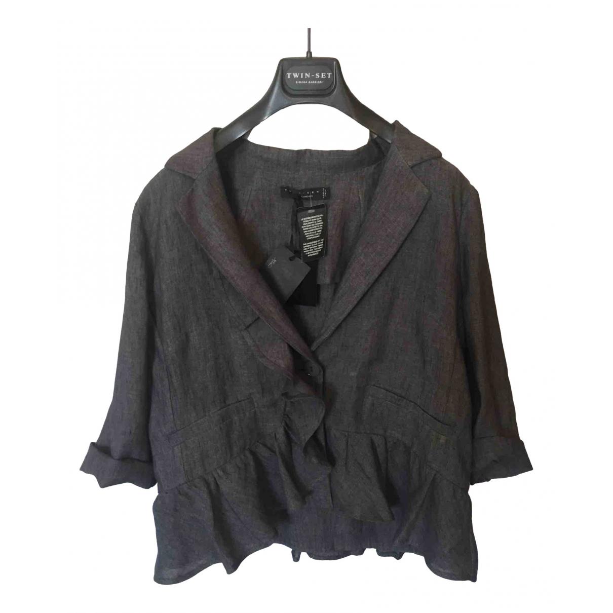 Twin Set - Veste   pour femme en lin - gris