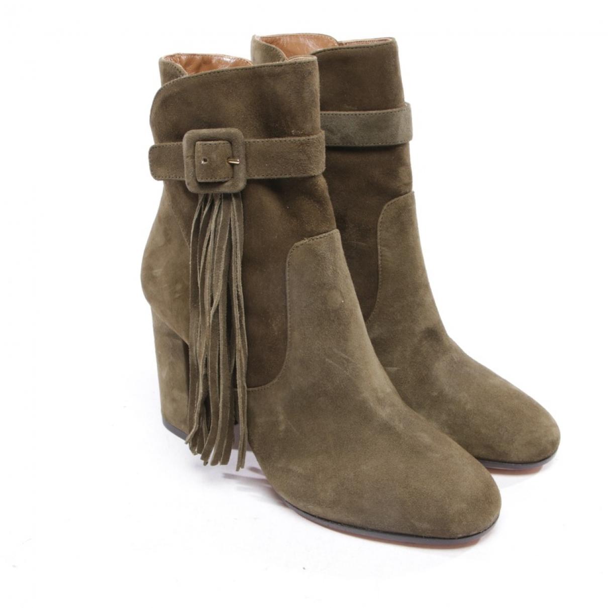 Aquazzura - Boots   pour femme en suede - vert