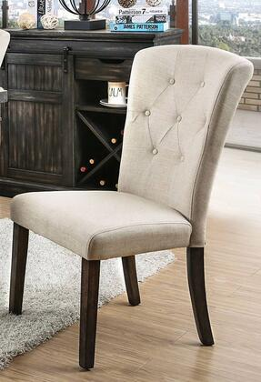 Schoten Collection CM3450SC-2PK Side Chair (Set of 2) in Ivory and Antique Dark