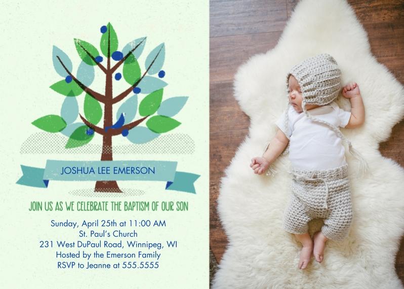 Baptism Invitations 5x7 Cards, Standard Cardstock 85lb, Card & Stationery -Boy Baptism Tree