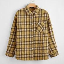 Mantel mit Karo Muster, Knopfen vorn und Taschen Flicken