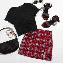 Drawstring Front Lettuce Trim Solid Top & Split Hem Plaid Skirt Set