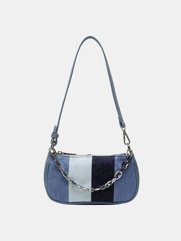 Women Chains Patchwork Armpit Bag Shoulder Bag Handbag