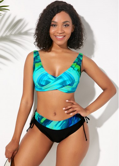 Women'S Cyan Lace Up Side Wide Strap Two Piece Printed Bikini Swimsuit Green Padded Wire Free Bathing Suit By Rosewe - 14