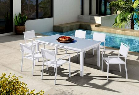 Renava Tybee VGGEFP0338-WHT 7-Piece Outdoor Dining Set with White Extendable Dining Table and 6