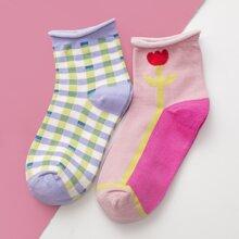 2pairs Hemmed Socks