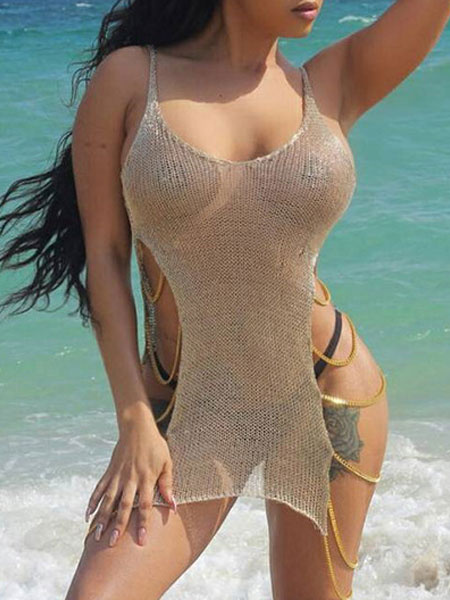 Milanoo Sexy Cover Up Women Straps Chains Sleeveless Brown Sheer Beach Wear