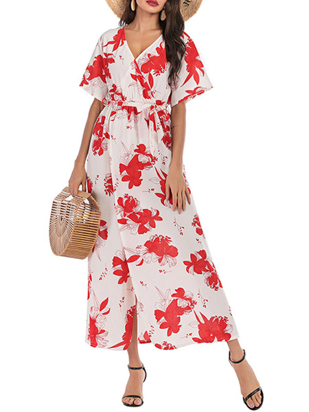 Milanoo Floral Maxi Dress Short Sleeves V Neck Chiffon Wrap Dress