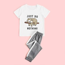 Girls Cartoon And Slogan Graphic PJ Set