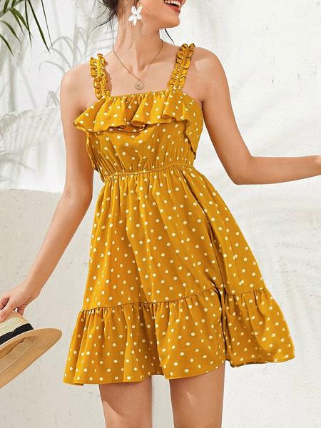 Milanoo Yellow Summer Dress Polka Dot Short Beach Dress