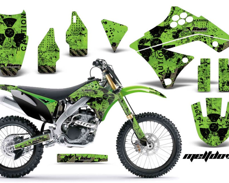 AMR Racing Dirt Bike Graphics Kit Decal Sticker Wrap For Kawasaki KX250F 2009-2012áMELTDOWN BLACK GREEN