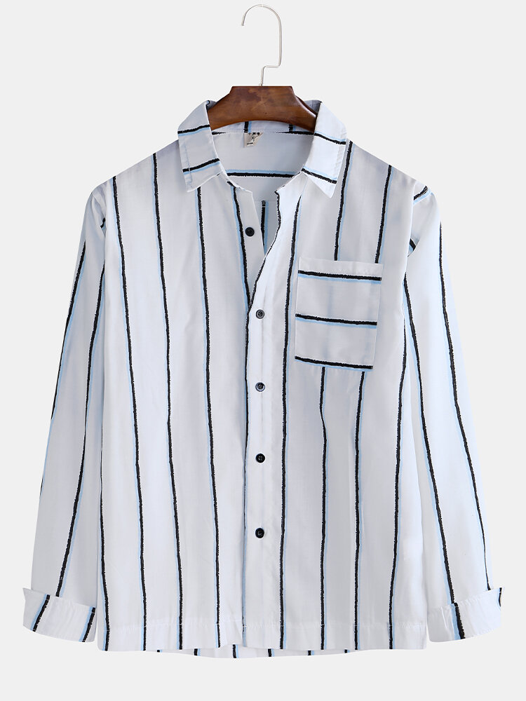 Mens Casual Striped Print Patch Pocket Business Long Sleeve Shirts