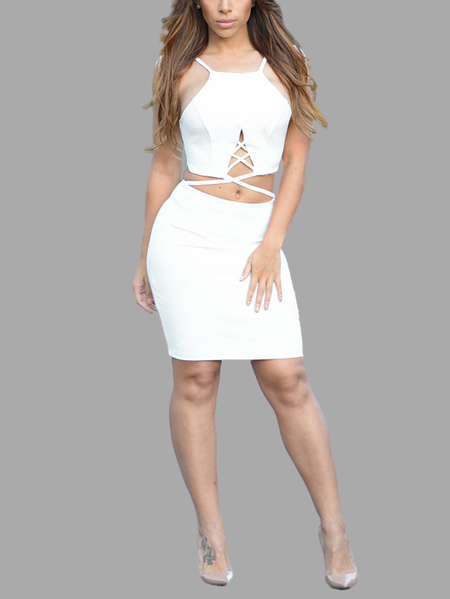 Yoins Strappy Cut Out Bodycon Dress in White