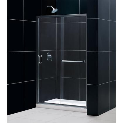 SHDR-0948720-04 Infinity-Z 44-48 In. W X 72 In. H Semi-Frameless Sliding Shower Door  Clear Glass In Brushed