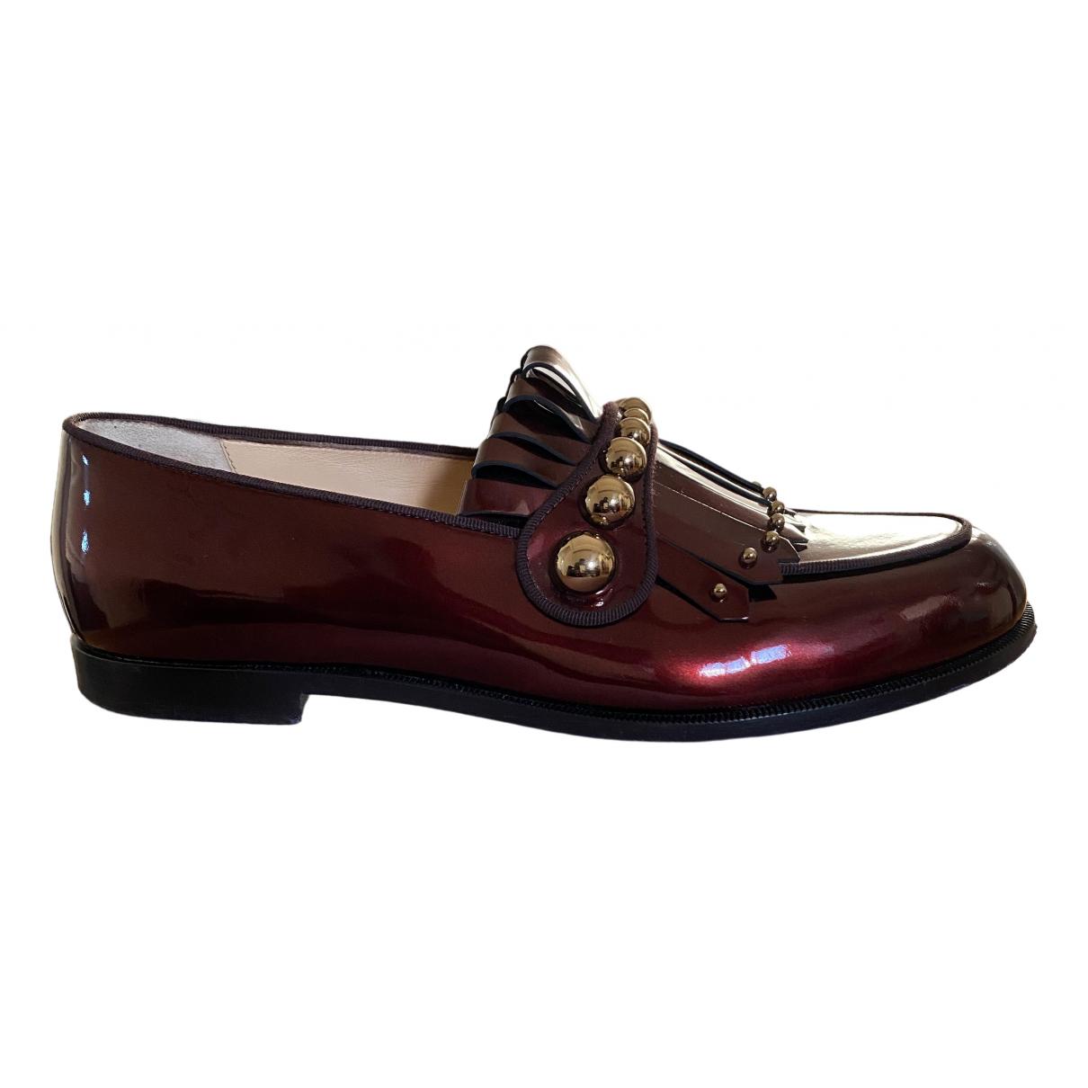 Christian Louboutin \N Burgundy Patent leather Flats for Men 40.5 EU