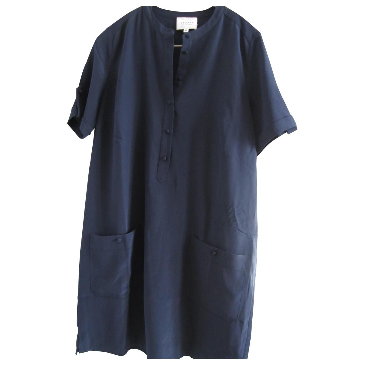 Sezane - Robe   pour femme en soie - bleu