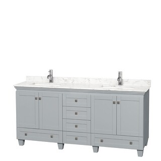 Acclaim 72 Inch Double Vanity, Cultured Marble Top (Oyster Gray, Dark-Vein Carrara Cultured Marble)