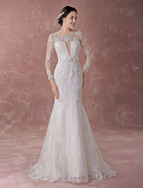 Milanoo Vestidos de novia de la sirena Flores de encaje de manga larga Vestidos de novia de la ilusion de marfil con el tren