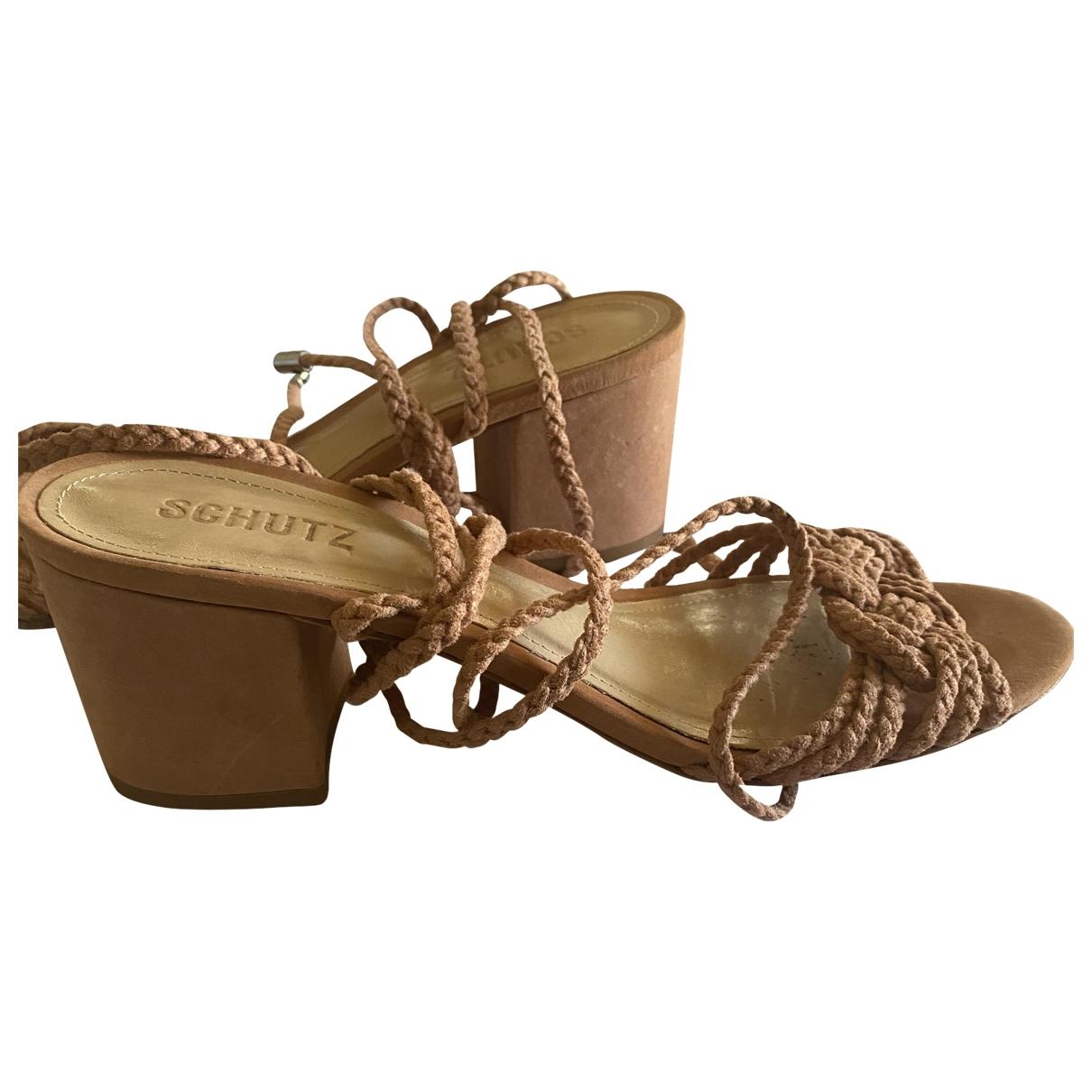 Schutz \N Pink Leather Sandals for Women 10 US